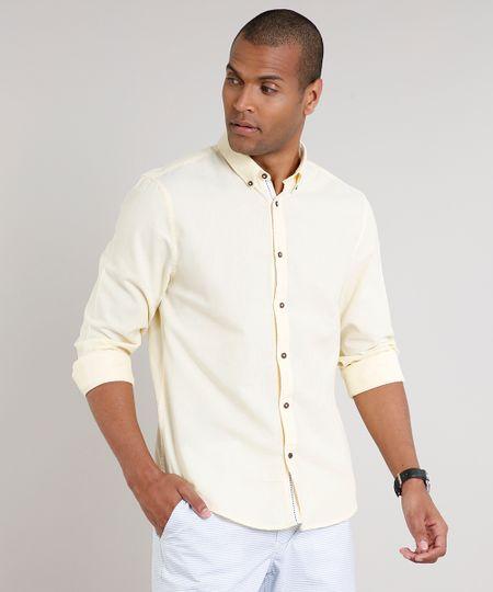 Camisa-Masculina-Comfort-Manga-Longa-Amarela-Claro-9523389-Amarelo_Claro_1