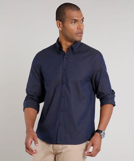 Camisa-Masculina-Comfort-Maquinetada-Manga-Longa-Azul-Marinho-9508850-Azul_Marinho_1