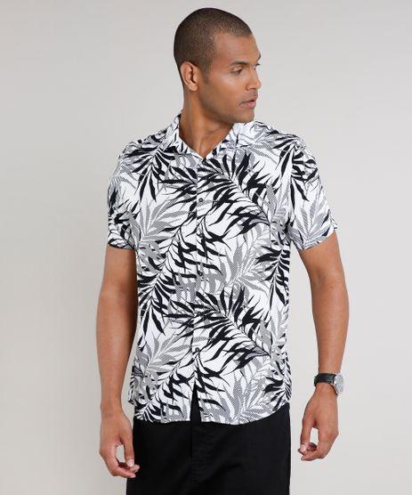 Camisa-Masculina-Estampada-de-Folhagem-Manga-Curta-Branca-9639681-Branco_1