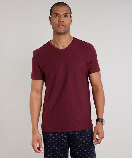 Camiseta-Masculina-Basica-Flame-Manga-Curta-Gola-V-Vinho-9595137-Vinho_1