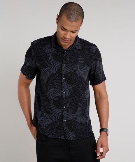 Camisa-Masculina-Relaxed-Estampada-de-Folhagem-Manga-Curta-Preta-9571341-Preto_1