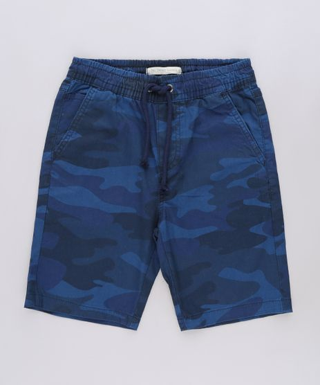 Bermuda-de-Sarja-Infantil-Estampada-Camuflada-com-Cordao-e-Bolsos-Azul-Marinho-9641362-Azul_Marinho_1