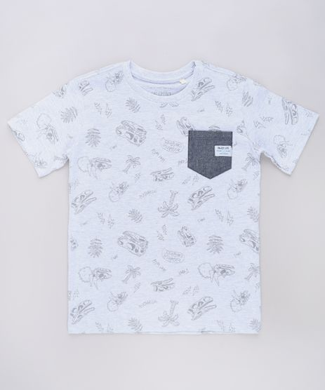 Camiseta-Infantil-Estampada-de-Dinossauros-com-Bolso-Manga-Curta-Cinza-Mescla-Claro-9660721-Cinza_Mescla_Claro_1