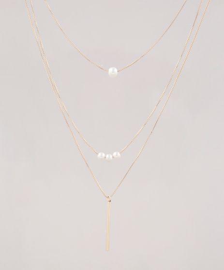 Colar-Feminino-Triplo-Folheado-com-Perolas-Dourado-9657483-Dourado_1