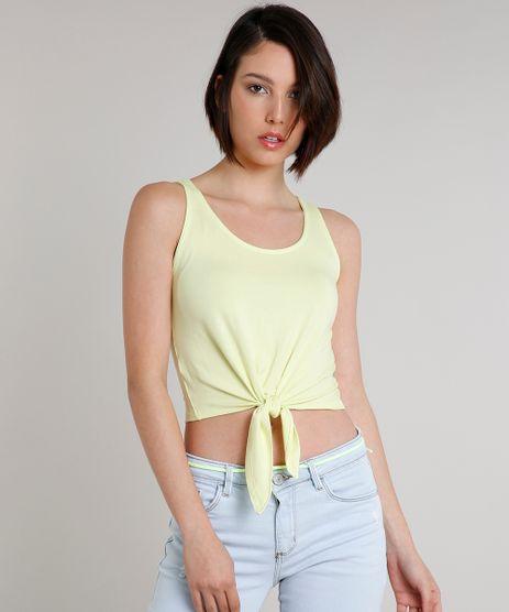 Regata-Feminina-Basica-com-No-Decote-Redondo-Amarela-Neon-9660276-Amarelo_Neon_1