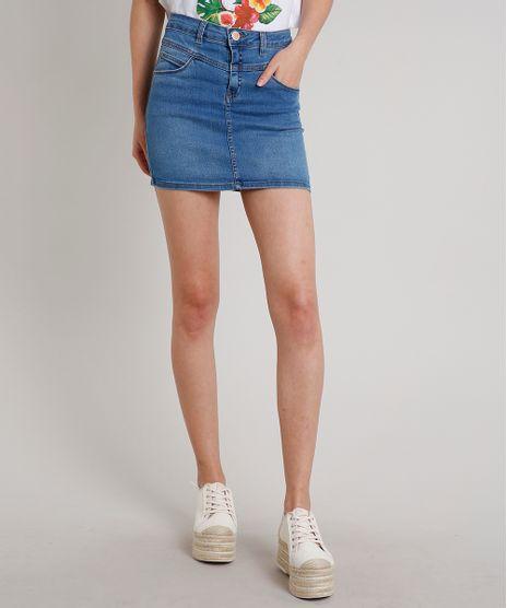 Saia-Jeans-Feminina-Curta-com-Bolsos-Azul-Medio-9688208-Azul_Medio_1