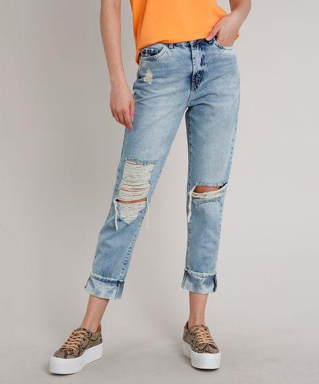 Calca-Jeans-Feminina-Mom-Cropped-Destroyed-Azul-Claro-9662950-Azul_Claro_1