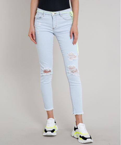 Calca-Jeans-Feminina-Skinny-Destroyed-com-Cordao-Neon-Azul-Claro-9685571-Azul_Claro_1