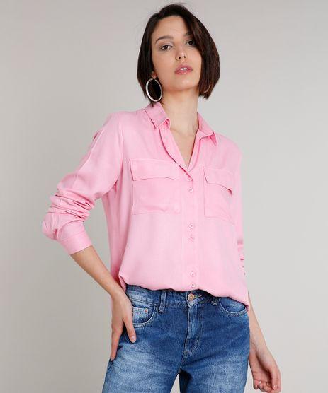 Camisa-Feminina-Ampla-com-Bolso-Manga-Longa-Rosa-9613002-Rosa_1