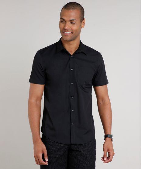 Camisa-Masculina-Comfort-com-Bolso-Manga-Curta-Preta-7602490-Preto_1