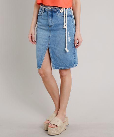 Saia-Jeans-Feminina-Midi-com-Rasgos-Fenda-e-Cinto-Azul-Medio-9670257-Azul_Medio_1