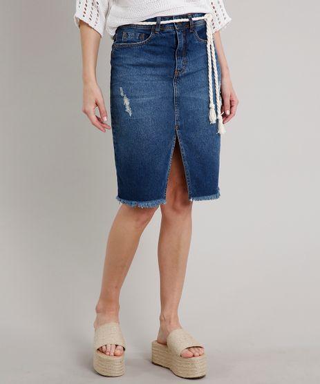 Saia-Jeans-Feminina-Midi-com-Rasgos-Fenda-e-Cinto-Azul-Escuro-9670259-Azul_Escuro_1