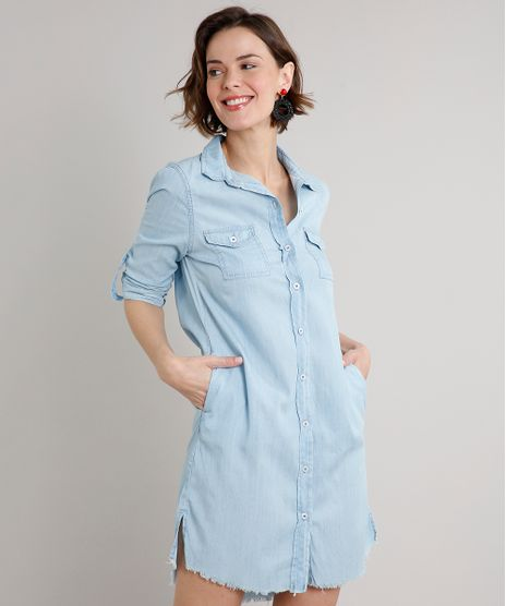 Vestido-Chemise-Jeans-Feminino-Curto-com-Bolsos-Manga-Longa-Azul-Claro-9662958-Azul_Claro_1