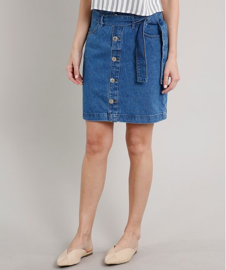 Saia-jeans-Feminina-Curta-com-Botoes-e-Cinto-Azul-Medio-9676279-Azul_Medio_1