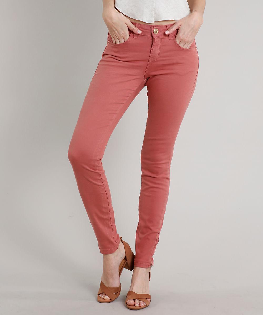 Calça de Sarja Feminina Skinny com Bolsos Rosa Escuro