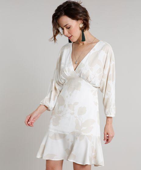 Vestido-Feminino-Curto-Estampado-de-Folhagem-com-Babado-Manga-7-8-Off-White-9537112-Off_White_1