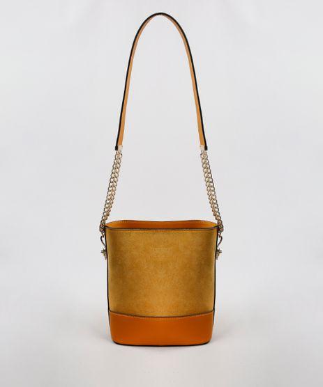 Bolsa-Feminina-Pequena-em-Suede-com-Correntes-Mostarda-9483378-Mostarda_1