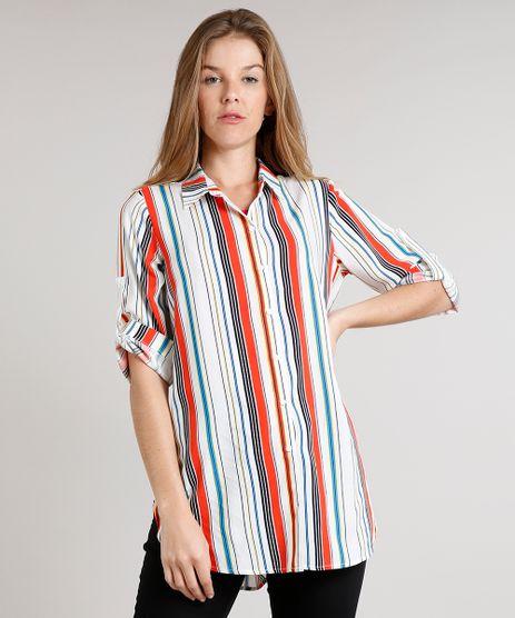 Camisa-Feminina-Longa-Listrada-com-Martingale-Manga-3-4-Off-White-9562871-Off_White_1