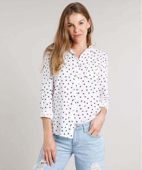 Camisa-Feminina-Estampada-de-Poa-com-Bolso-Manga-Longa-Off-White-9520786-Off_White_1