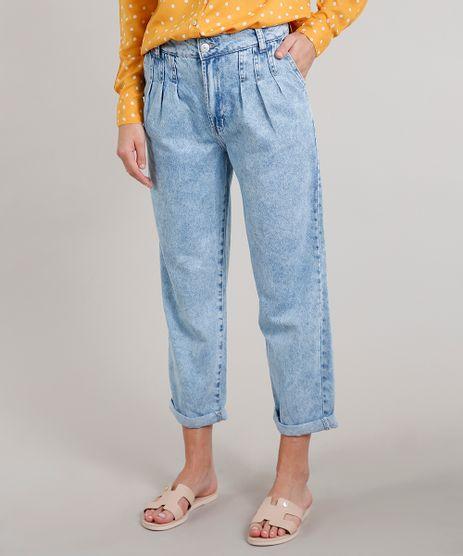Calca-Jeans-Feminina-Mom-com-Pregas-Azul-Medio-9666359-Azul_Medio_1