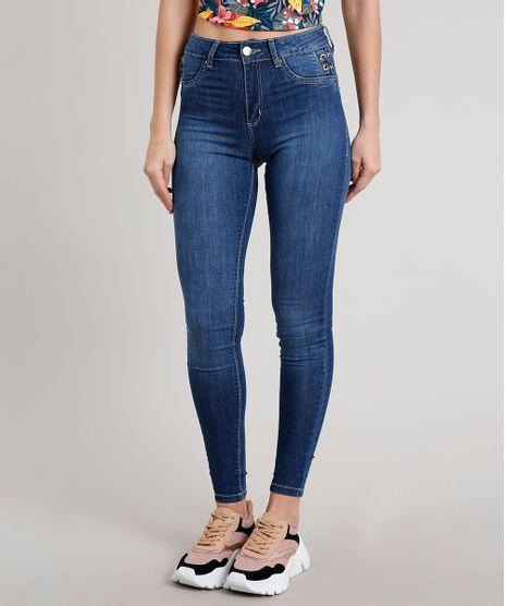 Calca-Jeans-Feminina-Sawary-Super-Skinny-Pull-Up-com-Ilhos-Azul-Escuro-9671827-Azul_Escuro_1