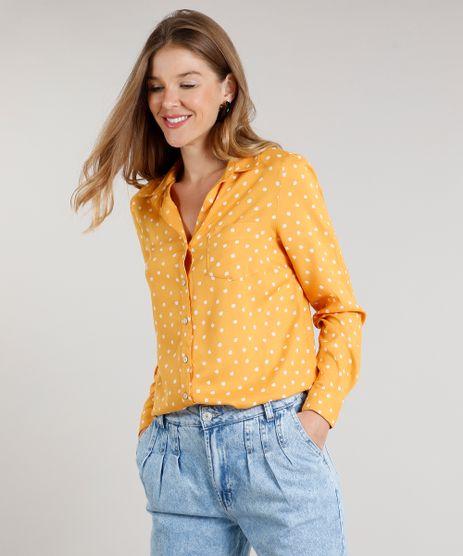 Camisa-Feminina-Estampada-de-Poa-com-Bolso-Manga-Longa-Mostarda-9520787-Mostarda_1