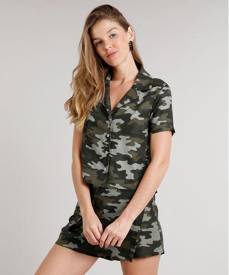 Camisa-Feminina-Cropped-com-Botoes-Manga-Curta-Verde-Militar-9700294-Verde_Militar_1