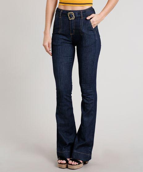 Calca-Jeans-Feminina-Sawary-Flare-com-Cinto-Azul-Escuro-9671816-Azul_Escuro_1