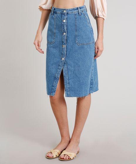 Saia-Jeans-Feminina-Midi-com-Botoes-e-Bolsos-Azul-Medio-9678762-Azul_Medio_1