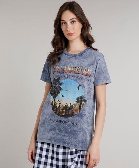 T-Shirt-Feminina-Mindset--Los-Angeles--Manga-Curta-Decote-Redondo-Azul-9765195-Azul_1