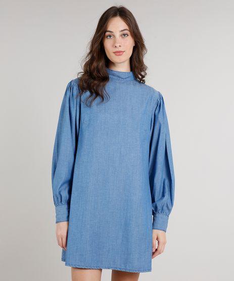 Vestido-Jeans-Feminino-Mindset-Ampla-Manga-Bufante-Gola-Alta-Azul-Medio-9752548-Azul_Medio_1