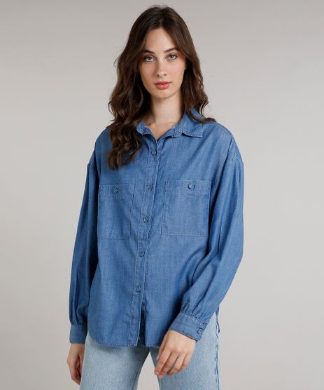 Camisa-Jeans-Feminina-Mindset-Ampla-com-Bolsos-Manga-Longa-Azul-Medio-9683296-Azul_Medio_1