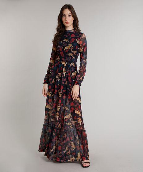 Vestido-Feminino-Mindset-Longo-Estampado-Floral-em-Tule-Manga-Longa-Gola-Alta-Preto-9752549-Preto_1