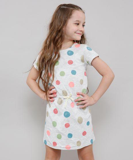 Vestido-Infantil-Estampado-de-Poa-com-Laco-Manga-Curta-Cinza-Mescla-Claro-9636527-Cinza_Mescla_Claro_1