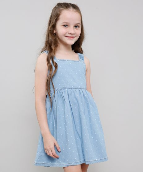 Vestido-Jeans-Infantil-Estampado-de-Estrelas-com-Botoes-Alcas-Medias-Azul-Claro-9615022-Azul_Claro_1