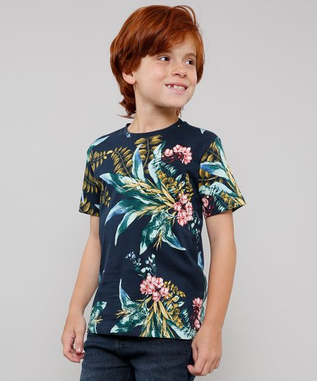 Camiseta-Infantil-Tal-Pai-Tal-Filho-Estampada-de-Folhagens-Manga-Curta-Azul-Marinho-9628176-Azul_Marinho_1