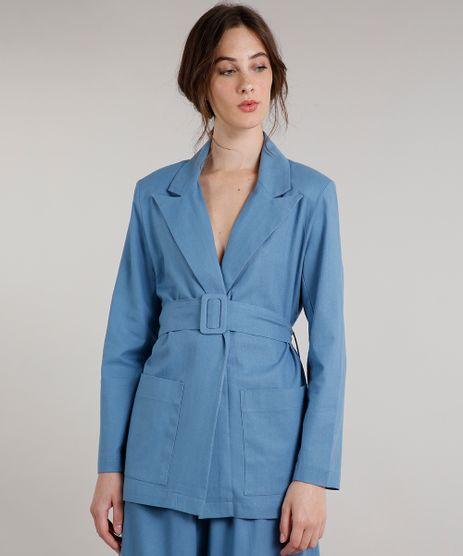 Blazer-Feminino-Mindset-Longo-Transpassado-com-Linho-e-Cinto-Azul-9707550-Azul_1