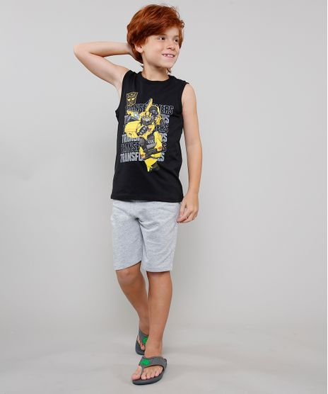 Conjunto-Infantil-Transformers-de-Regata-Gola-Careca-Preta---Bermuda-em-Moletom--Cinza-Mescla-Claro-9630535-Cinza_Mescla_Claro_1