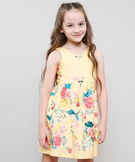 Vestido-Infantil-Estampado-Floral-Sem-Manga-Amarelo-9635448-Amarelo_1