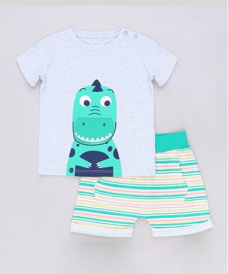 Conjunto-infantil-de-Camiseta-Jacare-Manga-Curta-Cinza---Short-Listrado-Verde-9678403-Verde_1