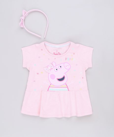 Blusa-Infantil-Peppa-Pig-Manga-Curta---Tiara-com-Laco-Rosa-9688719-Rosa_1