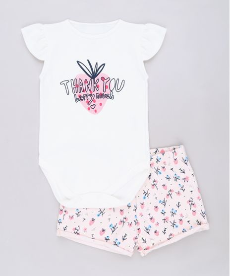 Conjunto-infantil-de-Body--Thank-You--Manga-Curta-Off-White---Short-Floral-Rosa-9678400-Rosa_1