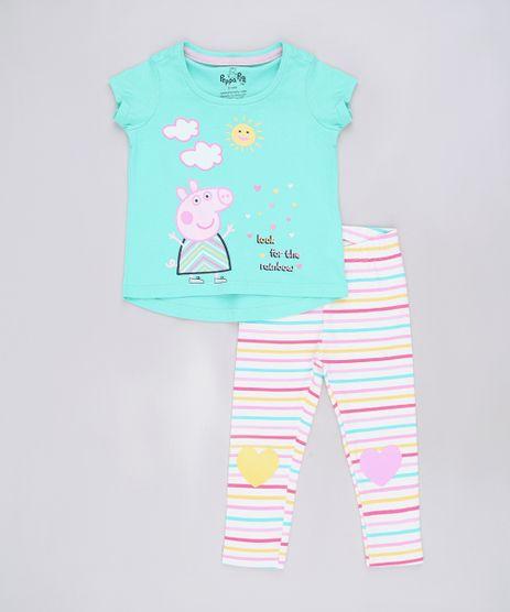 Conjunto-Infantil-de-Blusa-Peppa-Pig-Manga-Curta-Verde---Calca-Legging-Listrada-Off-White-9688715-Off_White_1