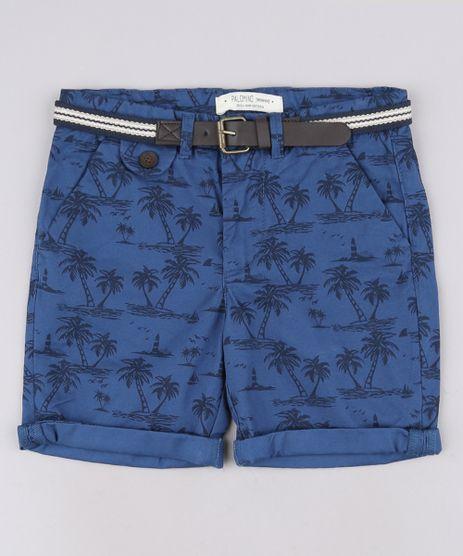 Bermuda-de-Sarja-Infantil-Estampada-Coqueiros-com-Cinto-Listrado-Azul-Escuro-9571296-Azul_Escuro_1