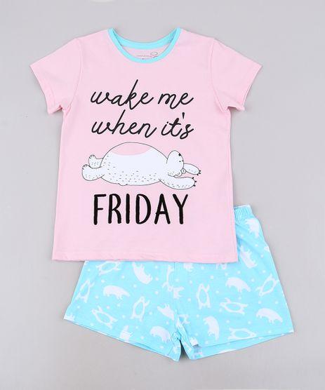 Pijama-Infantil--Wake-me-When-It-s-Friday--Manga-Curta-Rosa-9640942-Rosa_1