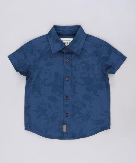 Camisa-Infantil-Estampada-de-Folhagens-com-Bolso-Manga-Curta-Azul-Escuro-9543945-Azul_Escuro_1