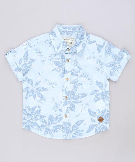 Camisa-Infantil-Estampada-de-Folhagens-com-Bolso-Manga-Curta-Azul-Claro-9543946-Azul_Claro_1