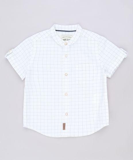 Camisa-Infantil-Estampada-Xadrez-com-Bolso-Manga-Curta-Gola-Padre-Off-White-9543944-Off_White_1