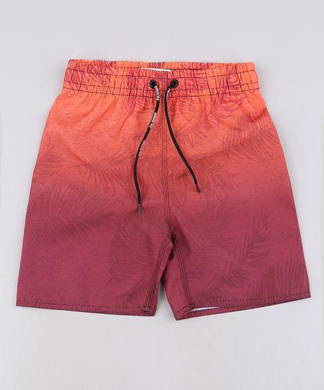 Bermuda-Surf-Infantil-Estampada-de-Folhagem-com-Degrade-Vermelha-9644129-Vermelho_1