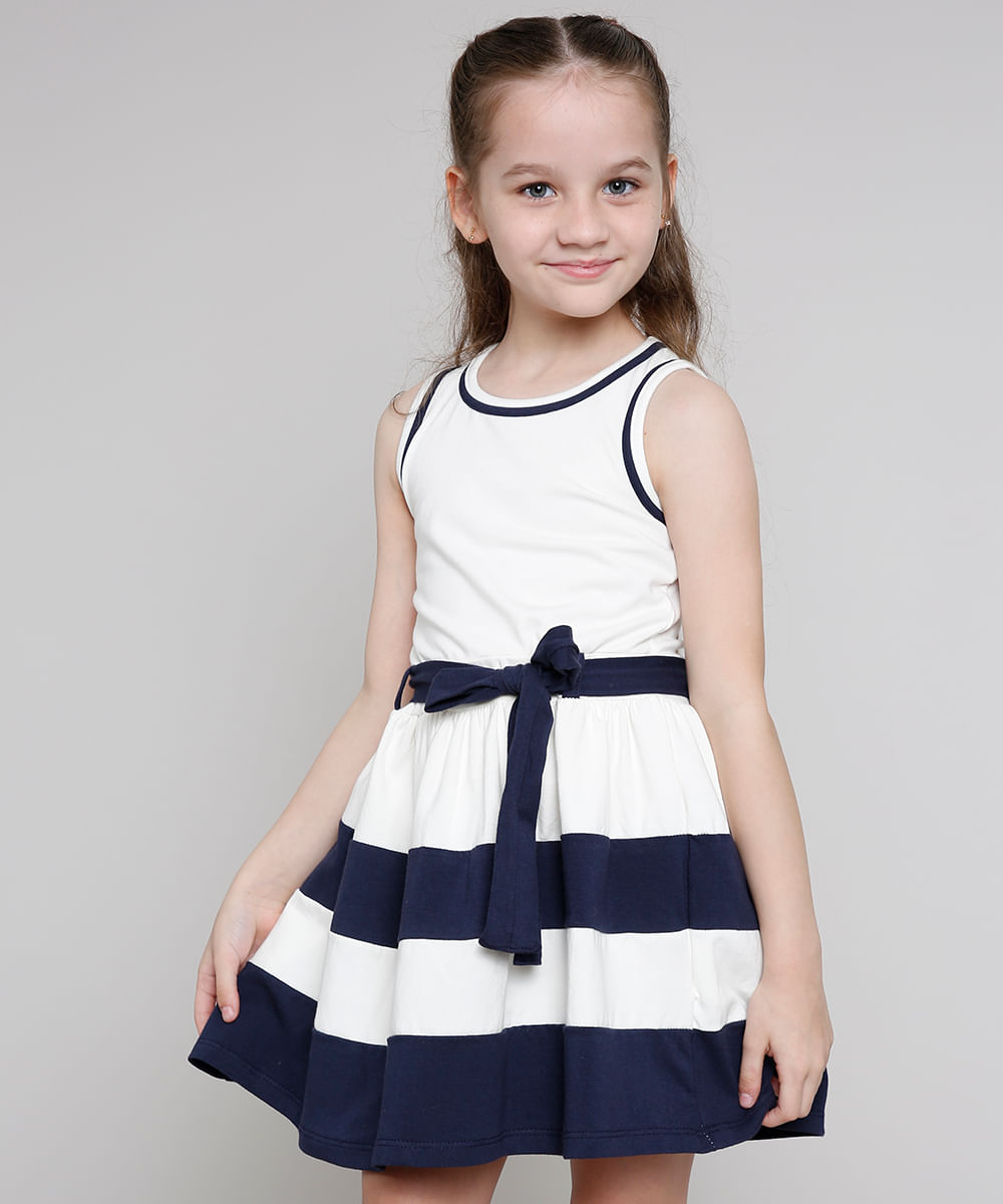 Vestido Infantil com Laço e Listras Sem Manga Off White